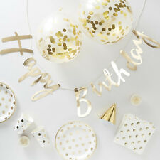 16 PERSON GOLD PARTY PACK - Party in a Box Cups Napkins Plates Hats & Decor