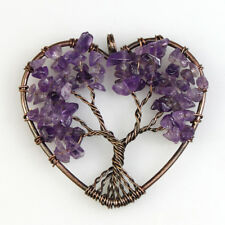 Chakra Copper Heart Pendant for Necklace Natural Amethyst Tree of Life Reiki
