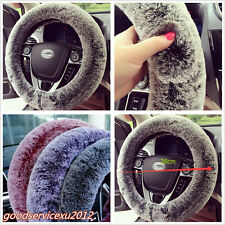 "15"" 38cm Black Grey Soft Warm Imitation Rabbit Fur Car SUV Steering Wheel Cover"