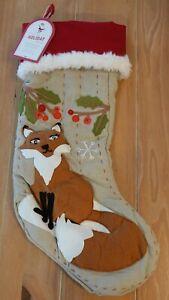 New Pottery Barn Kids WOODLAND FOX Christmas Holiday Stocking