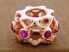 Bd095-  9ct Solid Rose Gold Natural Ruby Eternity Bead Charm European Bracelets