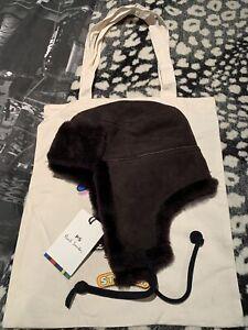 PAUL SMITH MEN'S SHEEPSKIN SHEARLING TRAPPER HAT Sz-Medium BNWT & Gift Tote Bag!