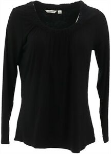 Liz Claiborne Gathered Scoopneck T-Shirt Black S NEW A219160