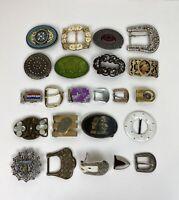 Vintage Lot of 22 Belt Buckles Lot Brass & Metal Missing Some Stones
