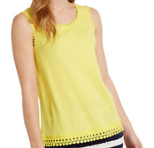 White Stuff Crinkle Jersey Vest in Yellow womens summer top size: 16   *30