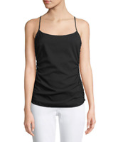NWT- Theory Stretch Silk Georgette Ruched-Sides Tank Top, Black - Size Small