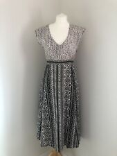 ANOKHI FOR EAST Dress Size 12 Patterned Black and Cream Cotton Lined