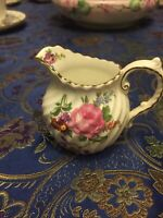 AYNSLEY ENGLAND PINK ROSES MINI CREAMER WITH GOLD TRIM ANTIQUE