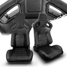 2 X Reclinable Black Pvc Leather Main Leftright Recaro Style Racing Seats