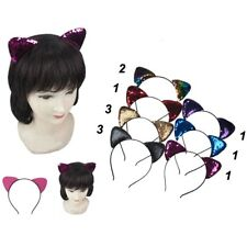 12pc Bling Sparkle Cat Ear Sequin Mermaid Headband Hairband accessory Halloween