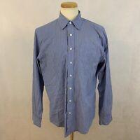 Thomas Pink Men's Striped Dress Shirt - Large - Blue/White/Black - Long Sleeve