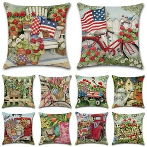 "18"" Flower Countryside Spring Linen Throw Pillow Cover Home Decor Cushion Case"