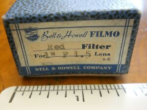 """BELL & HOWELL FILMO 1"""" RED FILTER FOR F1.5 LENS (USED EXCELLENT IN ORIGINAL BOX)"""