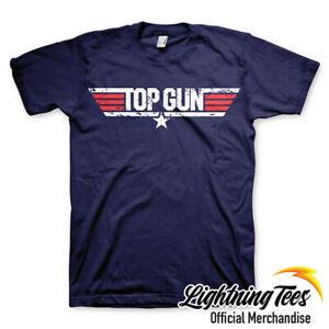 Top Gun Official Distressed Logo Navy Movie T-Shirt