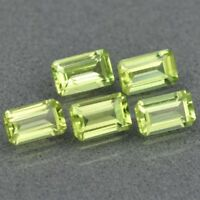 5x3mm 5pcs Lot VS-VVS Octagon Natural Untreated Green Peridot, Pakistan