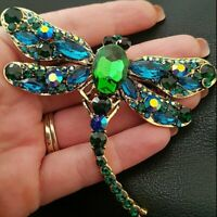 Crystal Green Dragonfly Animal Insect Brooch Pin Women Girl Jewelry Fashion Gift