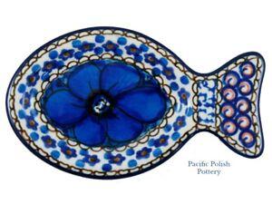 Polish Pottery u4 Chyla Unikat CA Fish Side Dish (B47-u408) Teabag Spoon Rest
