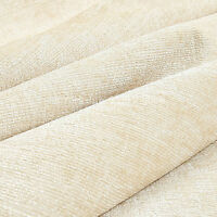 10 Metres Of Shimmer Shine Curtain Upholstery Chenille Fabric Cream Ivory Colour