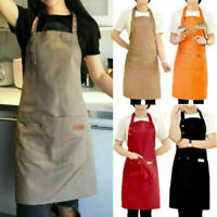 Kitchen Cooking BBQ Plain Denim Canvas Pockets Apron Butcher Crafts Baking Chefs