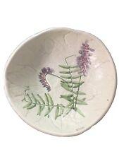 Pottery Dish Blue Vetch Mill Brook Kiln Vermont Signed by Catherine Beliveau