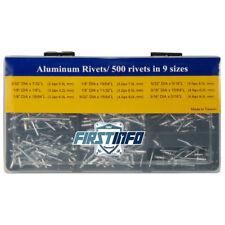 """FIT TOOLS Aluminum 500 pcs Rivets 1/8"""" - 5/32 """" ( 2.4 3.2 4.0 4.8 mm) in 9 Sizes"""