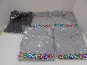 5 NEW OLD STOCK McDonalds Crew Christmas T-Shirts Medium Ornaments Frost