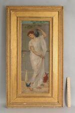 Large 19thC Antique LEONARDO CATTERMOLE Neoclassical Woman Portrait Oil Painting