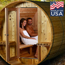 American Made 7+1 Weston Rustic Cedar Barrel Sauna - Almost Heaven Saunas