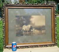 Vtg R. A. Fox 1920's-30's ORNATE Wood Frame Print Cow Catt!e Country Farm Stream