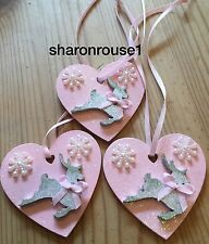 3 X Reindeer Christmas Decorations Shabby Chic Rustic Wood Heart Silver Pink Bow