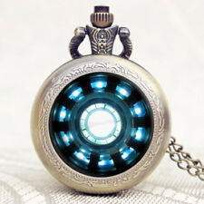 Tony Stark Iron Man Arc Reactor Jarvis Pattern Pocket Watch Cool Pendant Chain