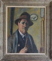 Charles François Prosper Guérin (1875/1939)- Autoportrait à la pipe, HST, signée
