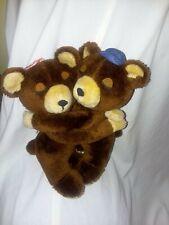 """1977 Dakin Pair of Girl & Boy Hugging Brown Bears 9"""", Plush Toys Vintage, Korea"""