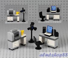 LEGO - Office Desk w/ Printer Computer Monitor - Minifigure Desktop Screen Chair