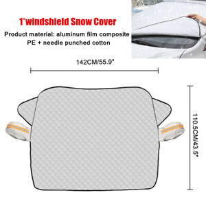 1X Car SUV Windshield Snow Cover W/2 Layer Protection Silver Universal Durable