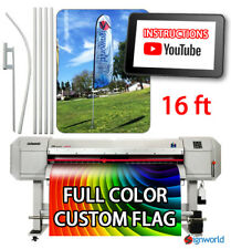 Full Color Custom Tall Swooper Advertising Flag Feather Banner + Pole & Spike