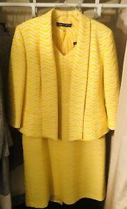 Albert Nipon Suit Dress Jacket Yellow Stripe Size 16
