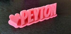 Custom Name 3D Text Sign with Heart - Name Plaque - Handmade - USA - Znet3D