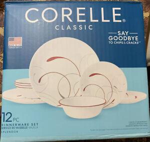 Corelle Classic Dinnerware Set 12-Piece - Splendor - Red Round Chip Resistance