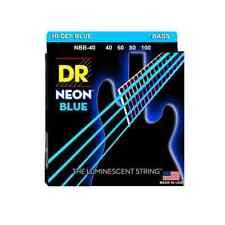 DR Strings NBB-40 Nickel Coated Hi-Def Blue Electric Bass Guitar Strings, Med...
