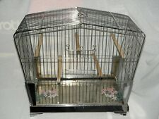 Art Deco,Vintage Chrome Bird Cage by Hendryx,5 Perch Plus Swing,Glass Panels