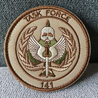 TASK FORCE 141 Embroidered USA Army Tactical Morale Hook Loop Patch Badge Tan