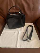 RARE Vintage Gucci 2 Way Train Case/Vanity Lunch Tote Shape Bamboo Zip Pull Bag