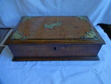 More details for vintage wooden oak cigar storage box brass mounts height 9 cm x 31 x 21cm no key