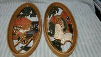 2 Vintage Oval Sculptured Art Wall Plaques Watermill Farrier Horse Homco Burwood