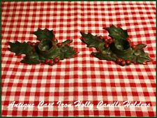 Antique Candle Holders Cast Iron Christmas Holly & Berries Vintage 1920's