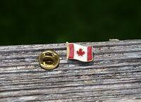Canada Flag Maple Leaf Canadian Gold Tone Metal Red White Enamel Hat Pin Pinback
