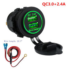 Dual USB Charger Socket Power Outlet Quick Charge 3.0 & 2.4A for Motorcycle ATV