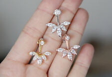Pure Silver CZ Crystal Rose Gold Silver Ear Jacket Double Front Back Earrings