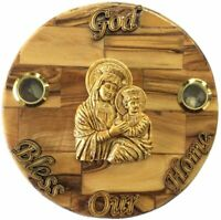 Round Olive wood Mother and Child Plaque Hand Made in Bethlehem Holy Land with
